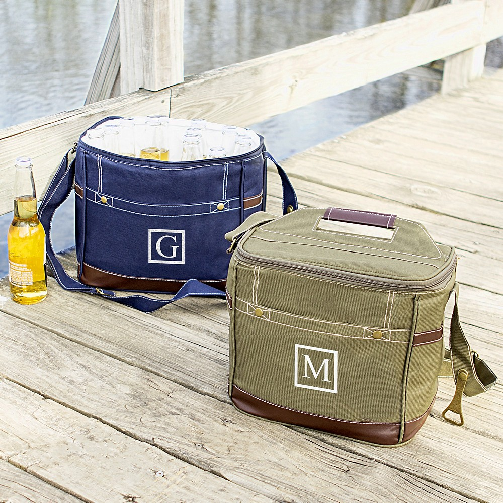 Personalized Insulated 12 Pack Beer Cooler Bags Available In Navy Blue Or Green